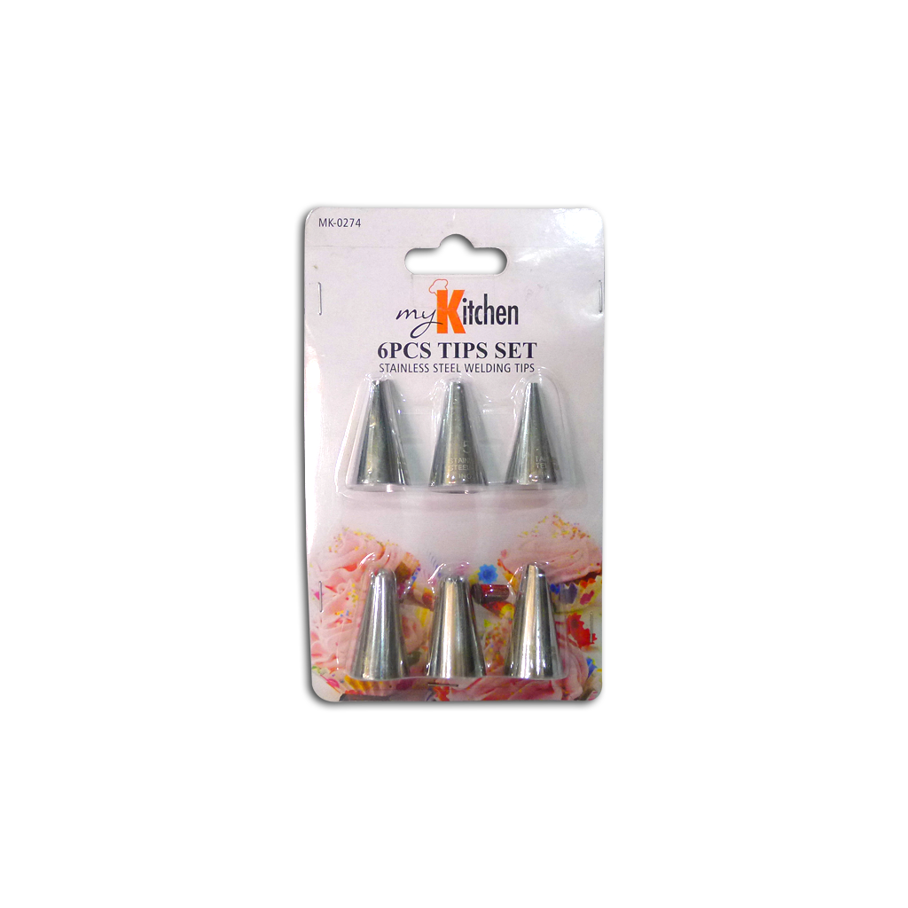 MK 6pc. Stainless Pastry Tip Set