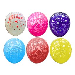 "Latex Balloon w/ Happy Birthday Print 10"" (Solid Color) 